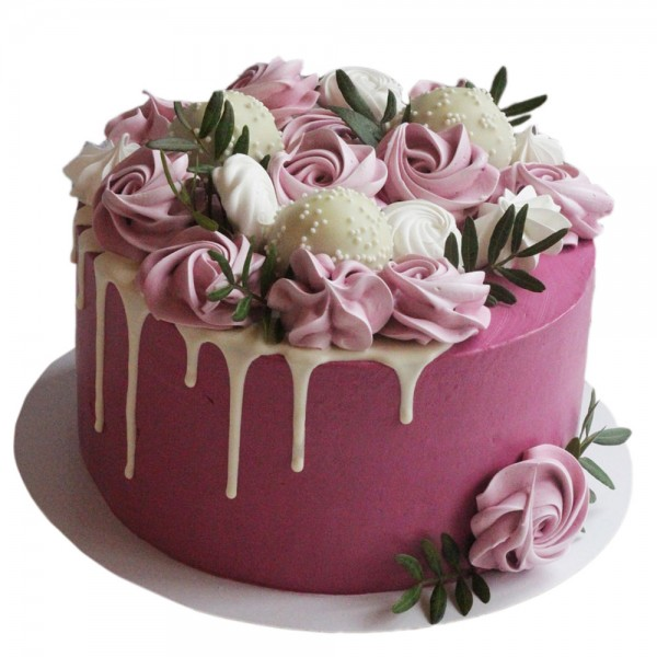 Svadbena torta sa ciklama ruzicama