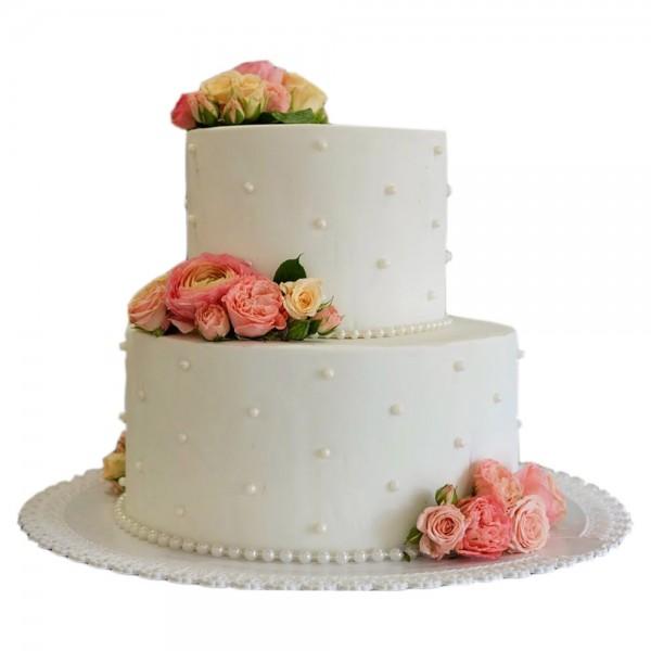 Svadbena torta na dva nivoa sa biserima