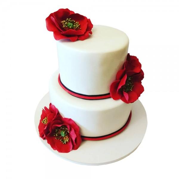 Mladenacka torta bela sa laticama ruza model 207