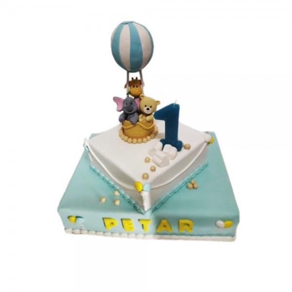 Rodjendanska torta zivotinje u balonu  model 157