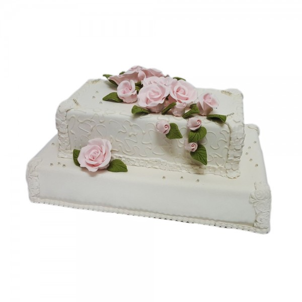 Svadbena torta sa pink ruzama